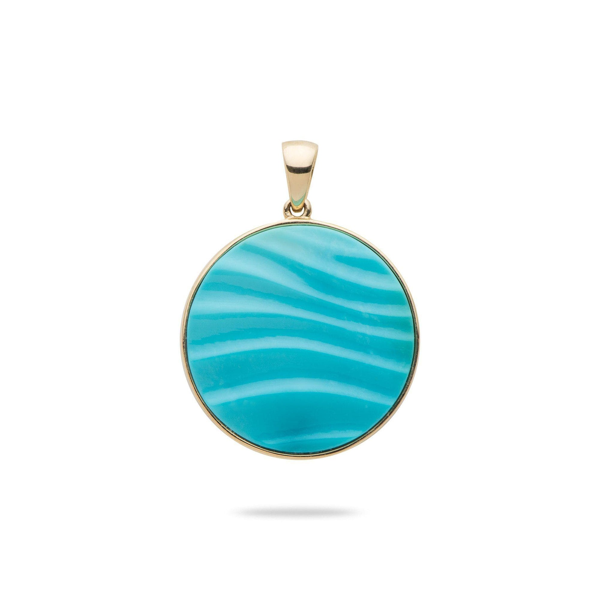 Hawaiian Moments Pendant with Turquoise in 14K Yellow Gold-[SKU]