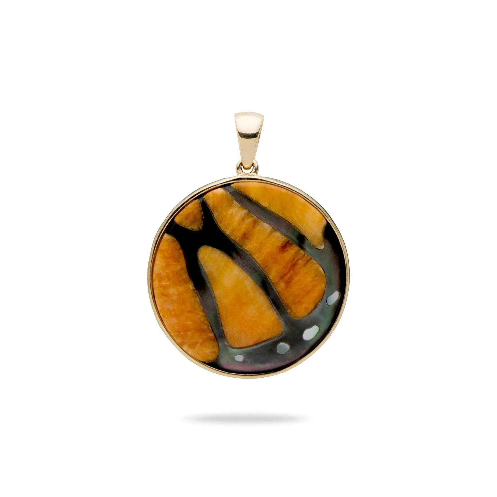 Hawaiian Moments Pendant with Mother of Pearl and Spiny Oyster in 14K Yellow Gold-[SKU]