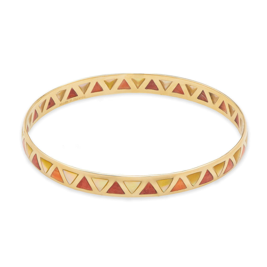 Red Spiny Oyster and Golden Mother Bangle Bracelet in 14K Yellow Gold-[SKU]