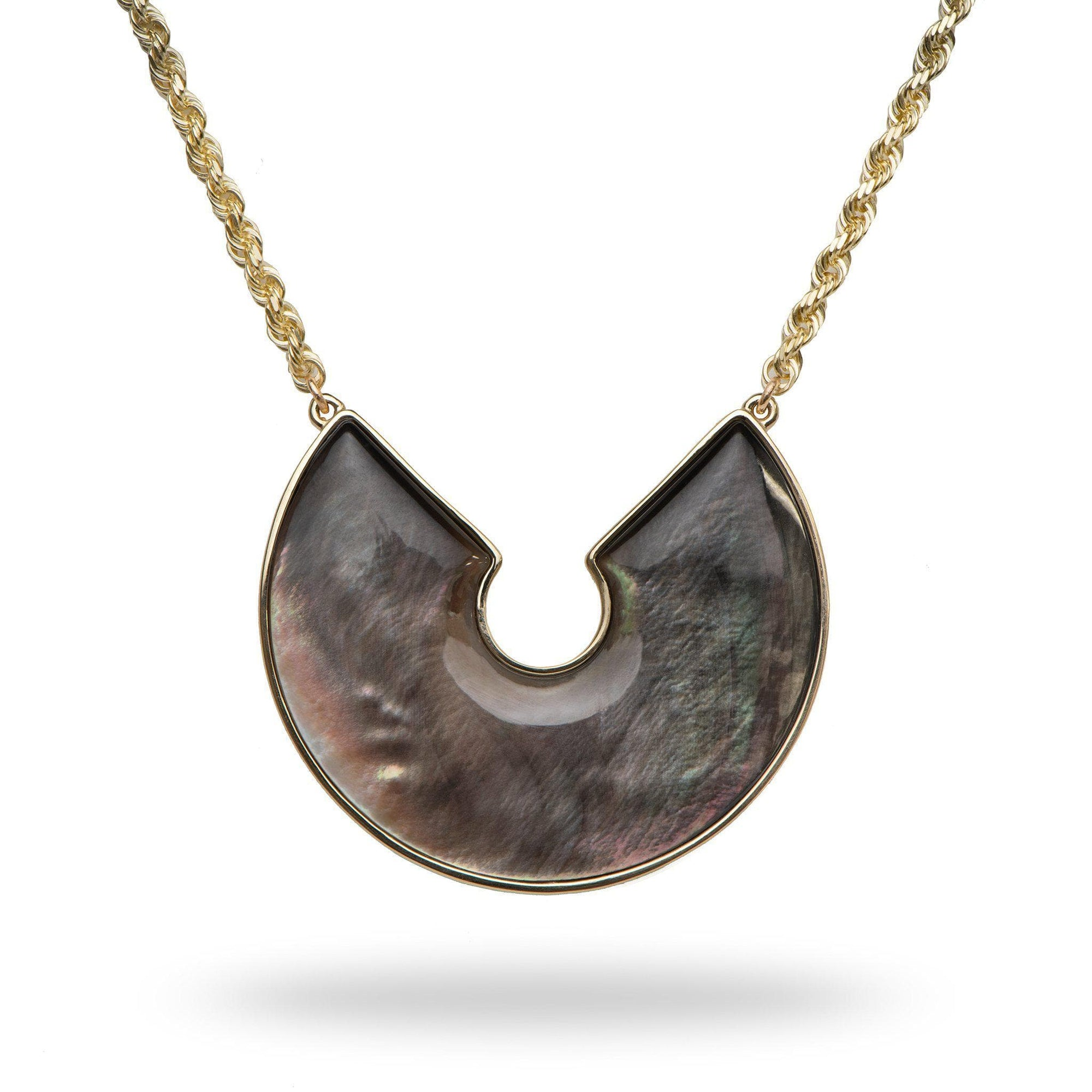 Black Mother of Pearl Necklace in 14K Yellow Gold-[SKU]