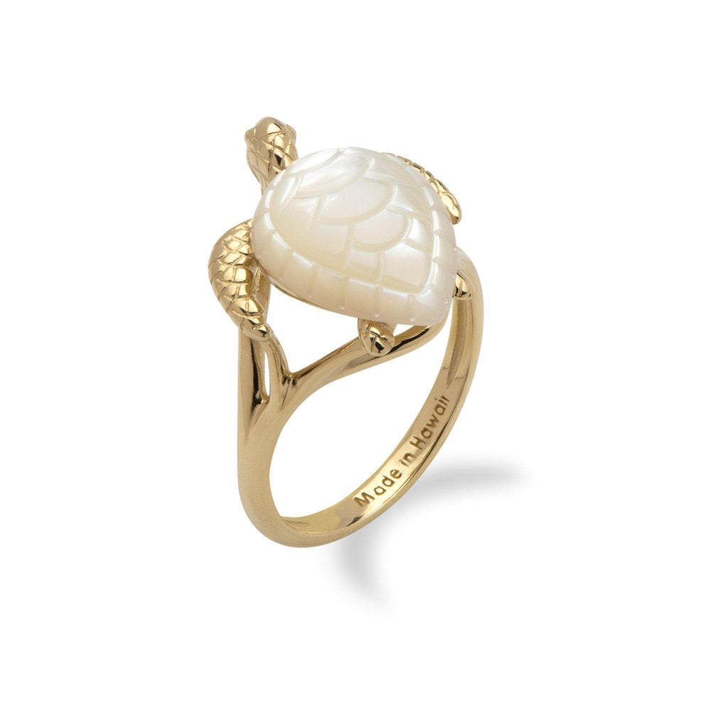 Honu (Turtle) Mother Of Pearl Ring in 14K Yellow Gold