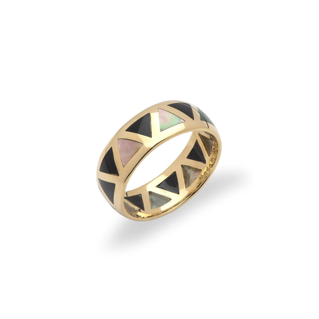 Black Coral and Mother of Pearl Ring in 14K Yellow Gold-031-00342
