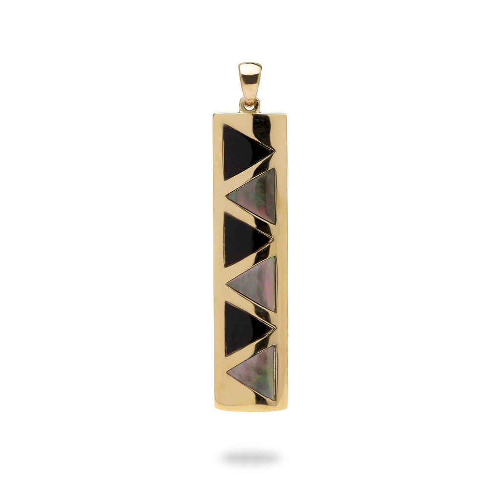Black Coral and Mother of Pearl Pendant in 14K Yellow Gold (Long Bar)-031-00345