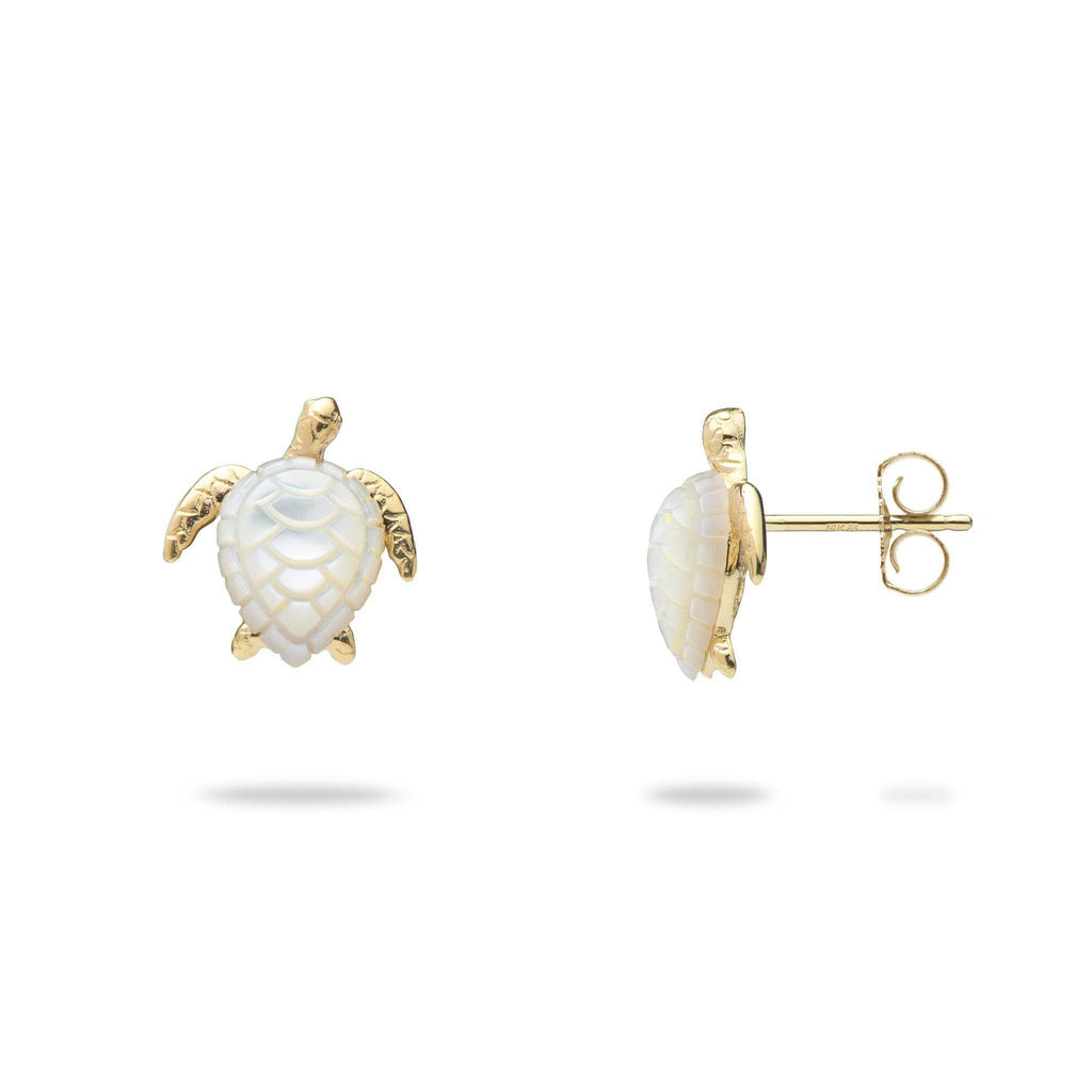 Honu (Turtle) Mother Of Pearl Earrings in 14K Yellow Gold - Maui Divers Jewelry