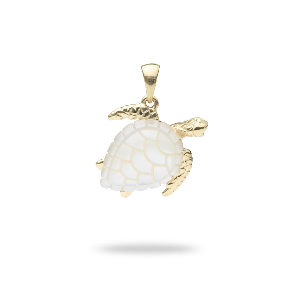 Honu (Turtle) Mother Of Pearl Pendant in 14K Yellow Gold - Maui Divers Jewelry