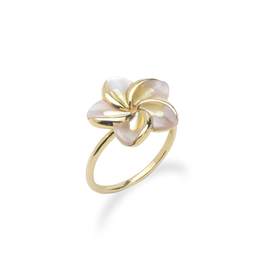 Plumeria Mother of Pearl Ring in 14K Yellow Gold - Maui Divers Jewelry