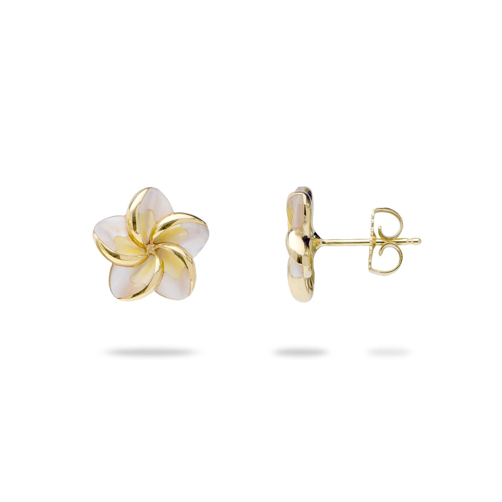 Plumeria Mother of Pearl Earrings in 14K Yellow Gold - Maui Divers Jewelry