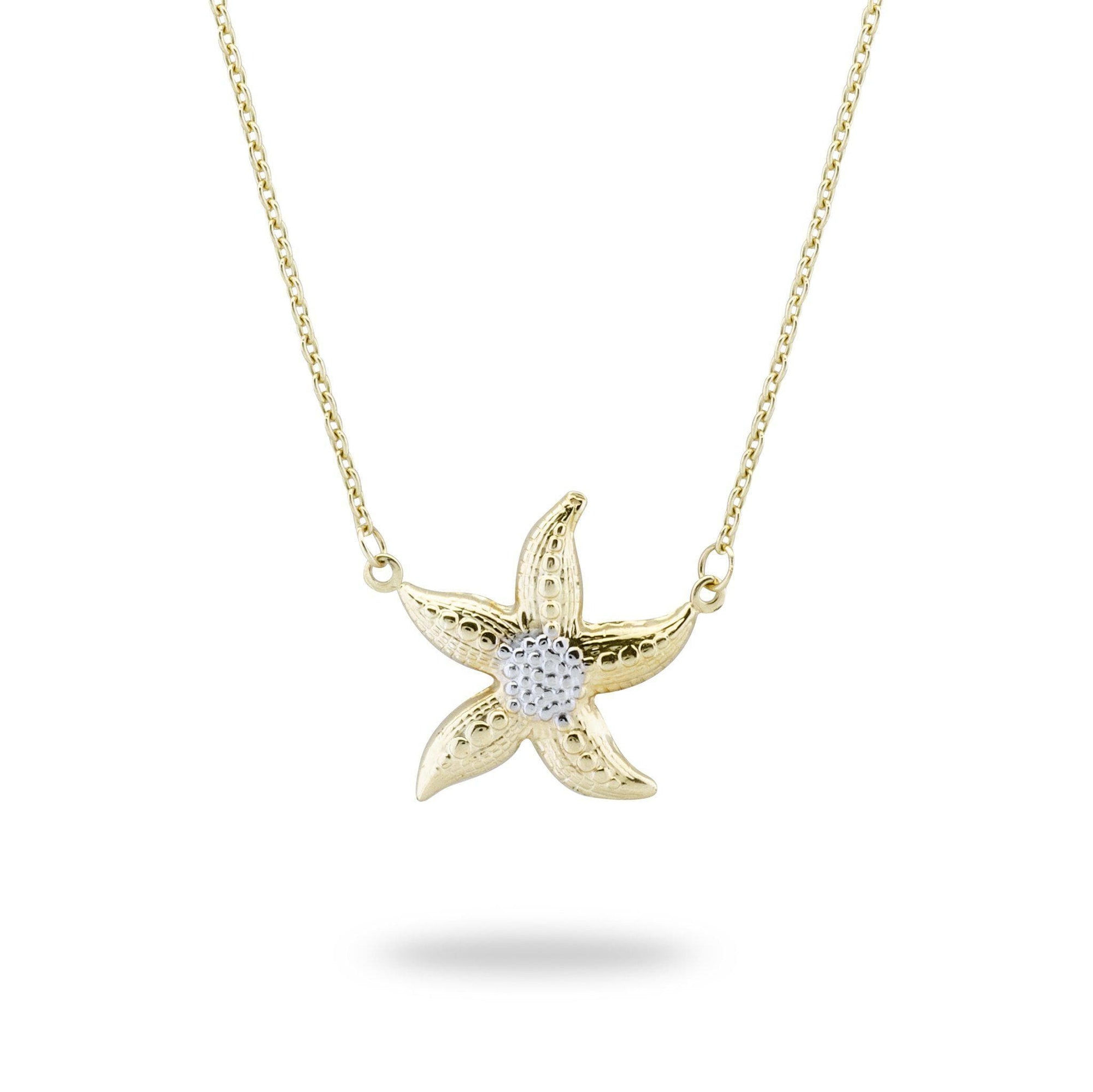 "18"" Starfish Necklace in 14K Yellow and White Gold-[SKU]"