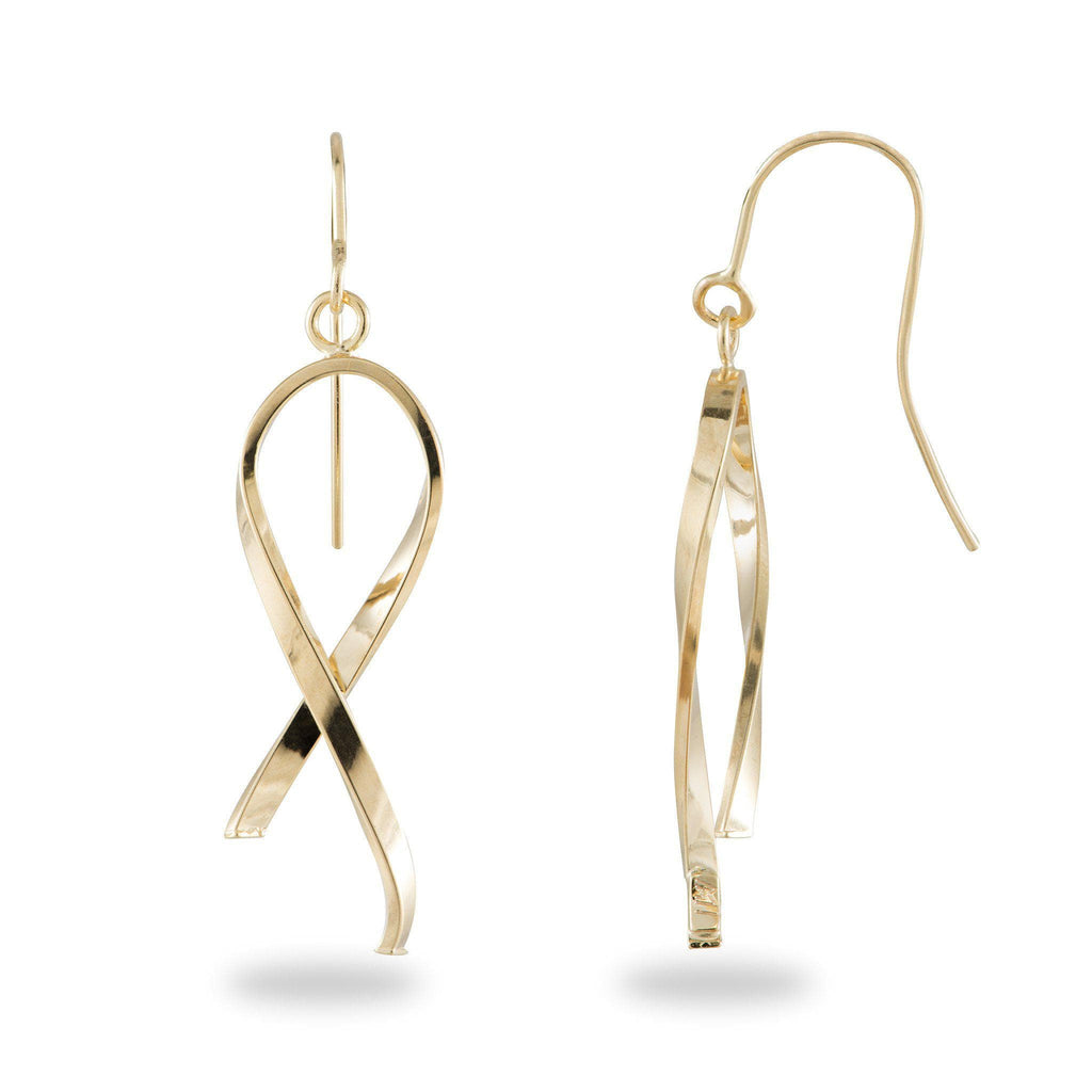 Tube Ribbon Earrings in 14K Yellow Gold
