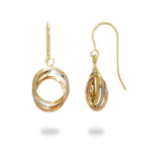 Three Ring Earrings in 14K Tri-Color Gold - Maui Divers Jewelry