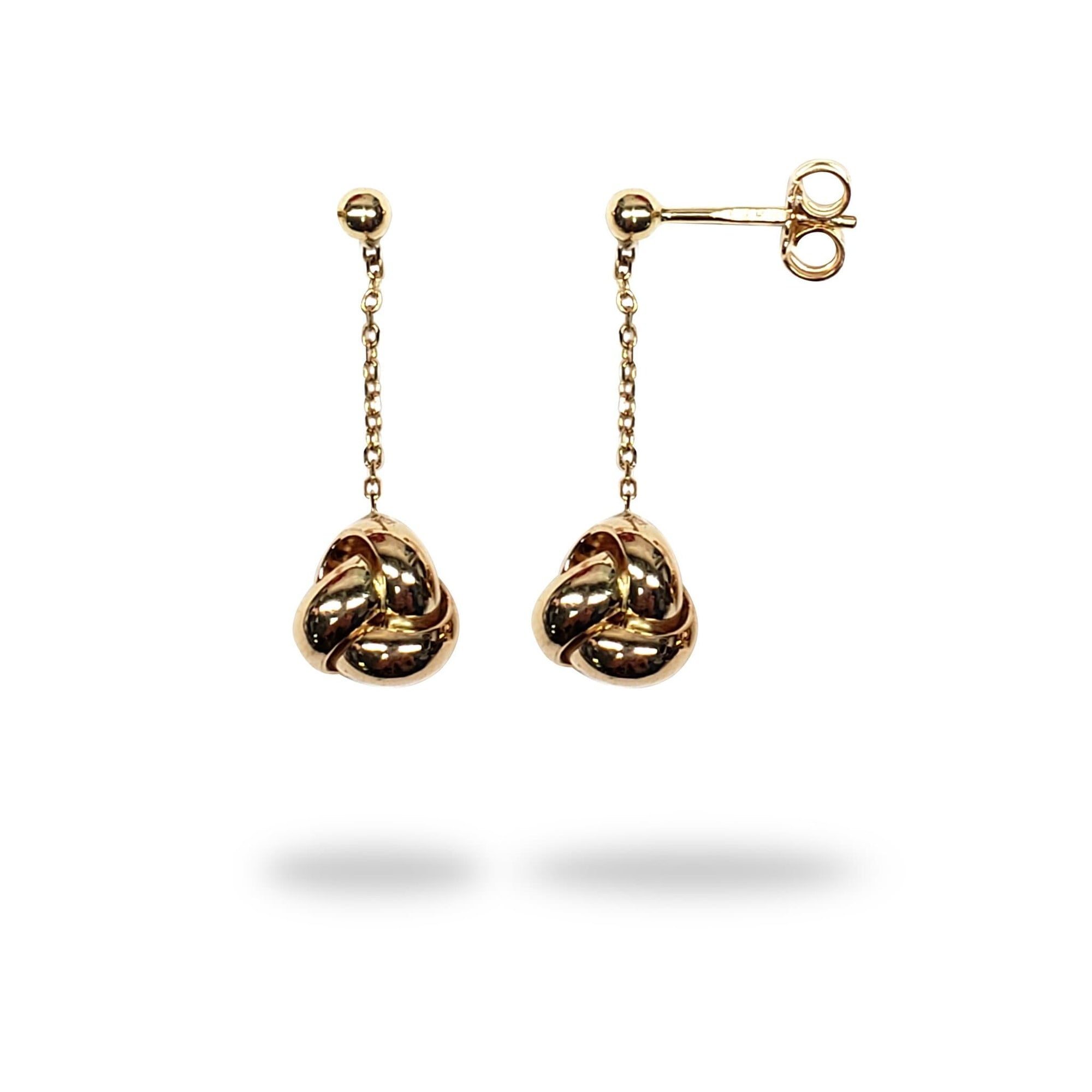 Love Knot Dangle Earrings in 14K Yellow Gold - Maui Divers Jewelry