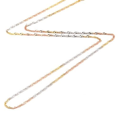 "16"" 1.2MM Singapore Chain in 14K Tri-color Gold"