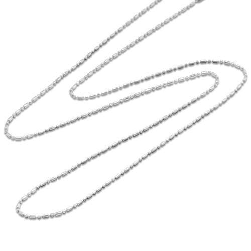 "24"" 1.5mm Ball/Bar Chain in Sterling Silver-[SKU]"