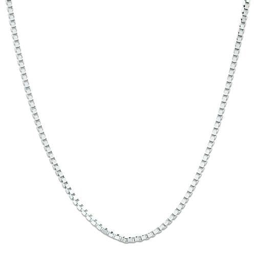 "22"" Adjustable 0.85MM Box Chain in 14K White Gold"