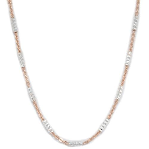 "16"" 1.0mm ""Two-tone Tube"" Chain in Sterling Silver"
