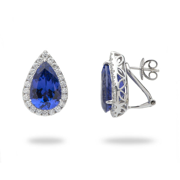 Shop tanzanite jewelry online rings pendants tagged earrings tanzanite earrings with diamonds in 18k white gold aloadofball Image collections