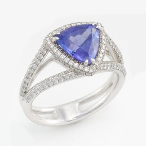 33a7cf418507ae Triangle Tanzanite Ring with Diamonds in 18K White Gold