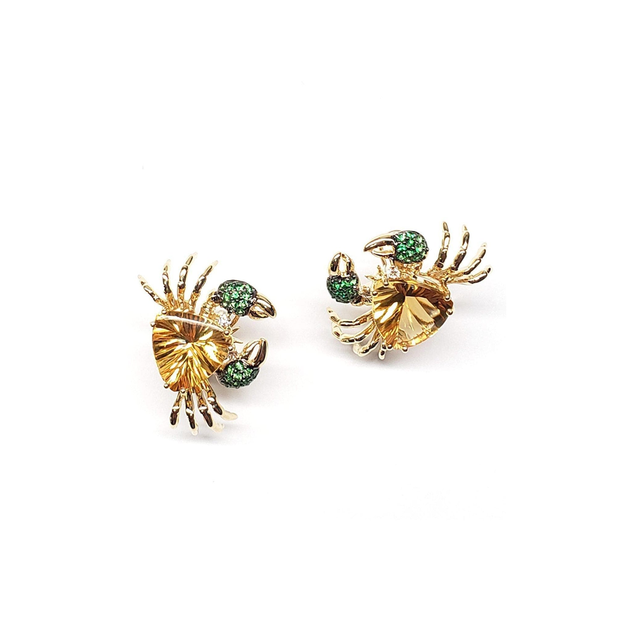 14 Karat Gold Crab Earrings with Citrines, Green Garnets and Diamonds - Maui Divers Jewelry
