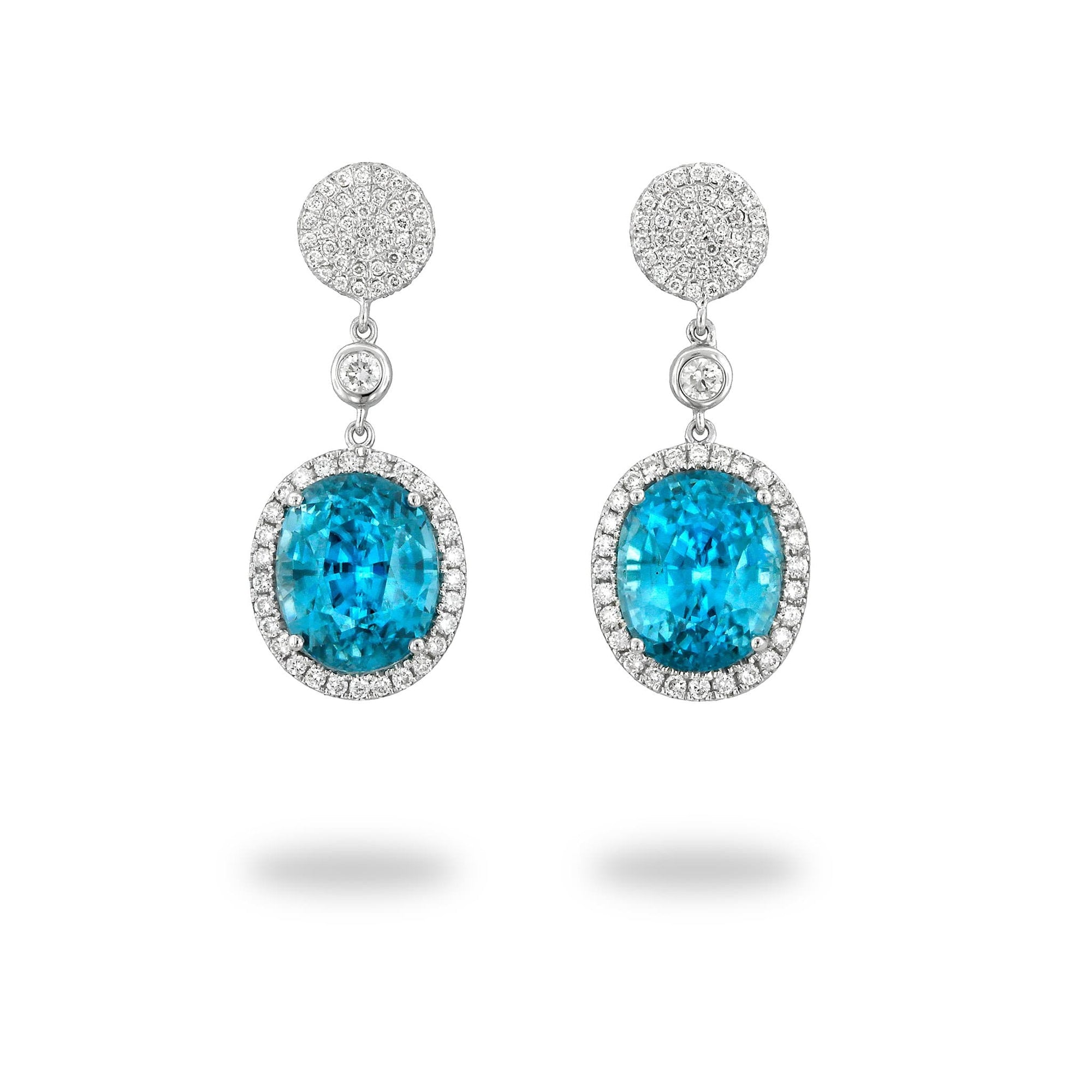 Blue Zircon Earrings with Diamonds in 18K White Gold - Maui Divers Jewelry