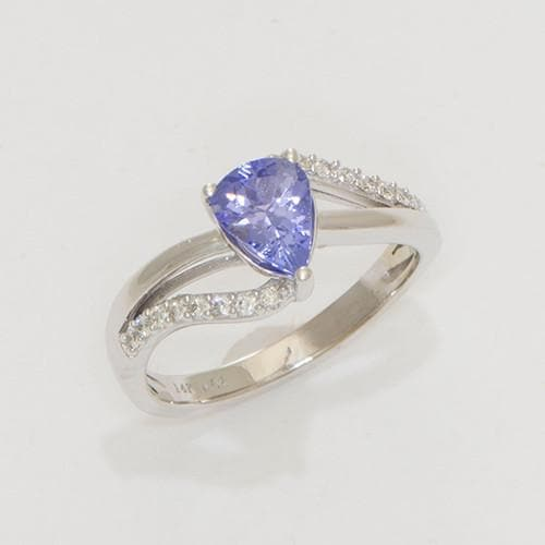 Pear shaped Tanzanite Ring in 14K White Gold-039-03720
