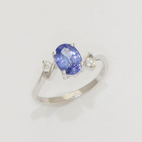 Tanzanite Ring with Diamonds in 14K White Gold