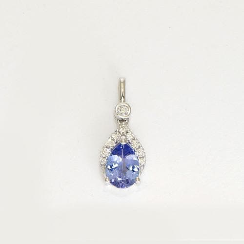 8c6055ccb322a8 Pear Shaped Tanzanite Pendant with Diamonds in 14K White Gold-039-03733