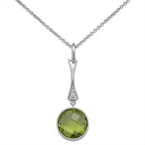 Peridot Necklace with Diamonds in 14K White Gold