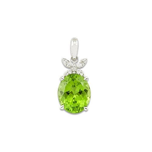 Peridot Pendant with Diamonds in 14K White Gold