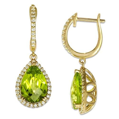 Peridot Earrings with Diamonds in 14K Two-Tone Gold