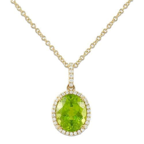 Peridot Necklace with Diamonds in 14K Two-Tone Gold