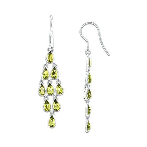 Peridot Earrings in 14K White Gold