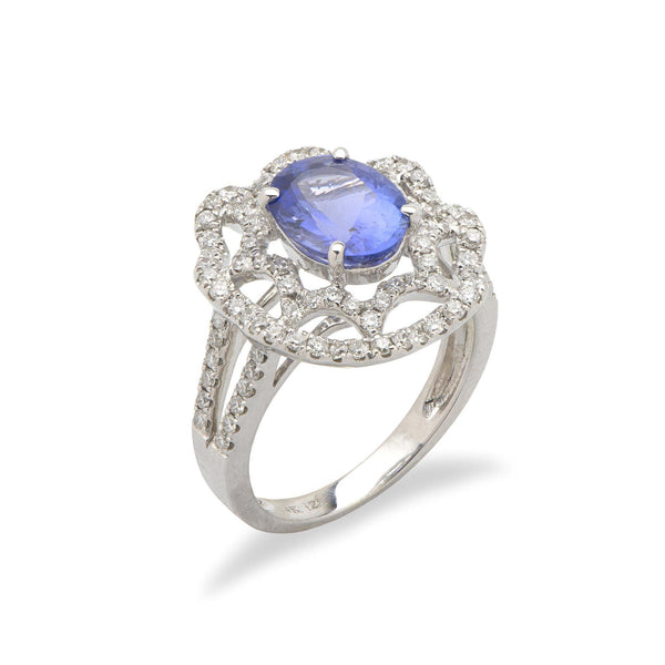 1dacb1c28f28c3 Tanzanite Ring with Diamonds in 14K White Gold