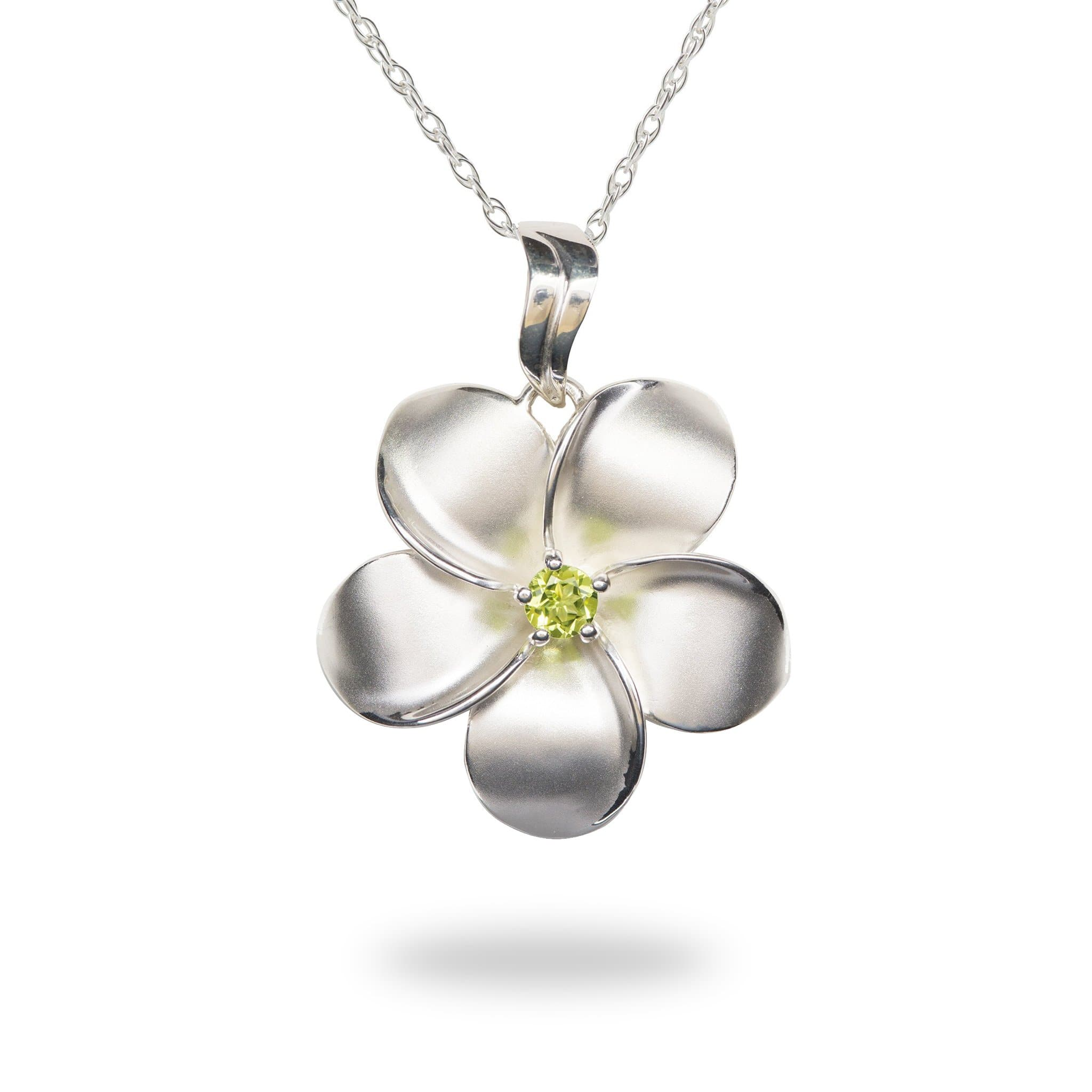 Complete collection of maui divers jewelry hawaii inspired tagged plumeria necklace with peridot in sterling silver 285mm izmirmasajfo
