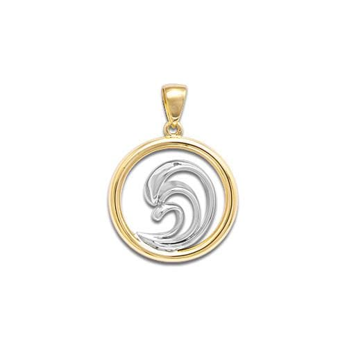 Wave Pendant in Sterling Silver & 14K Yellow Gold