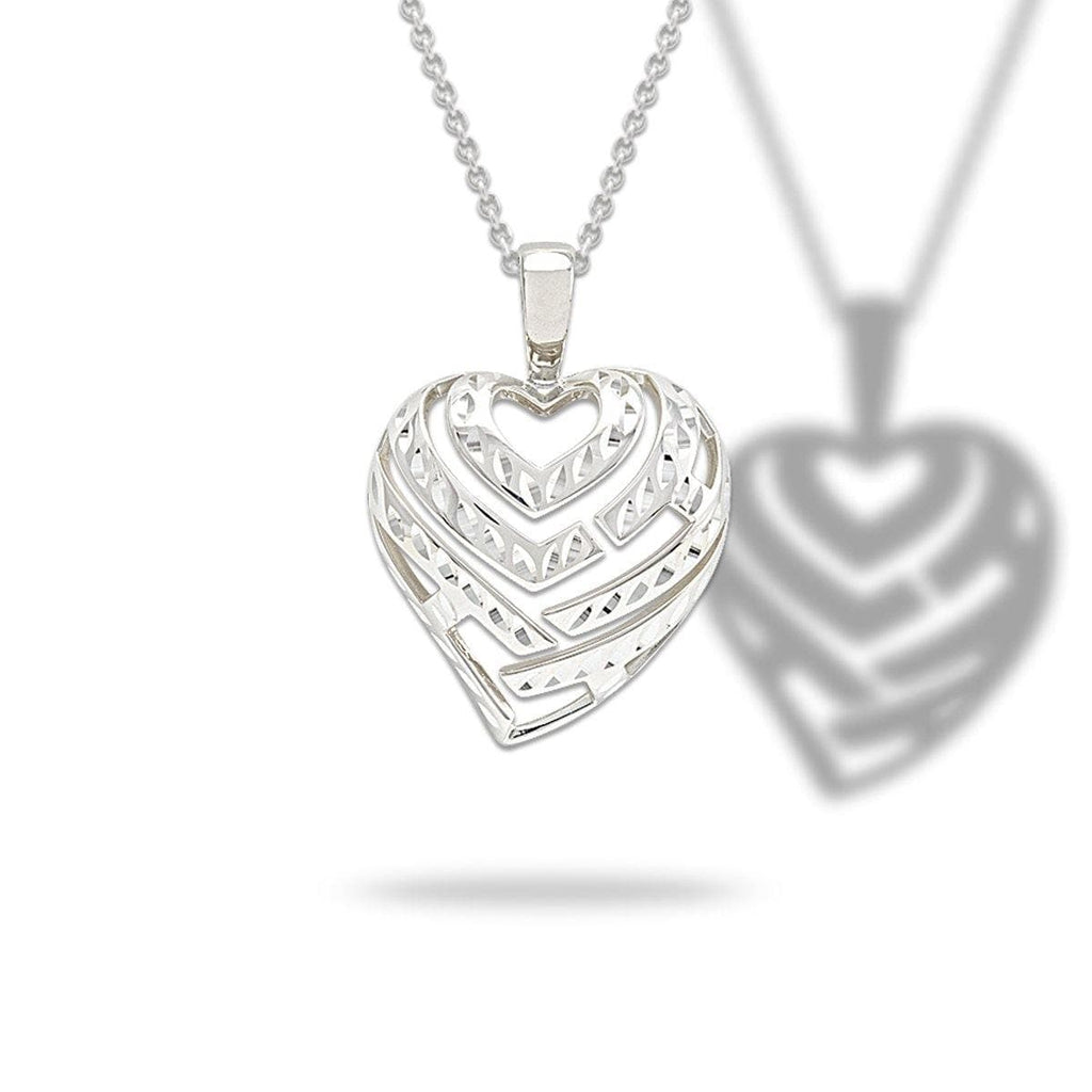 Aloha Heart Necklace in Sterling Silver - 30mm - Maui Divers Jewelry