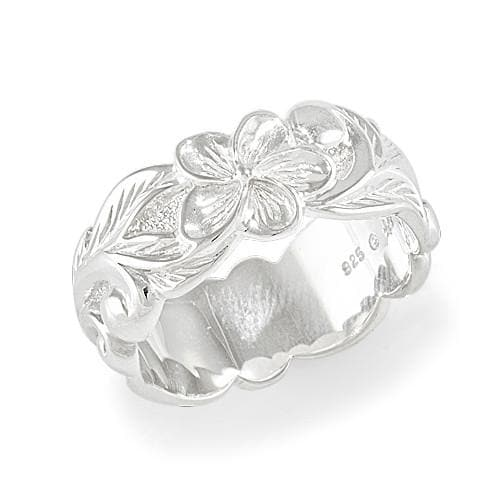 Plumeria Scroll 8mm Ring in Sterling Silver - Size 7