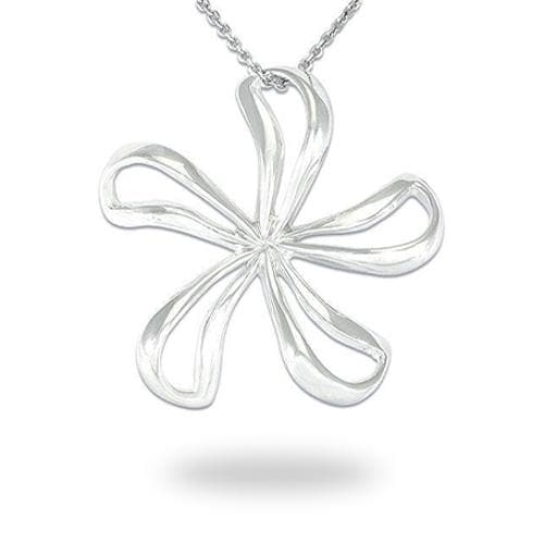 Plumeria Necklace in Sterling Silver - 38mm