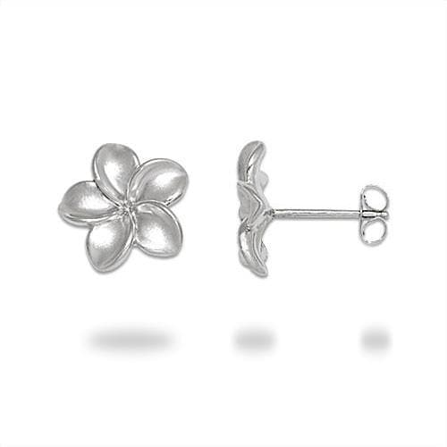 Plumeria Earrings in Sterling Silver - 13mm-Maui Divers Jewelry