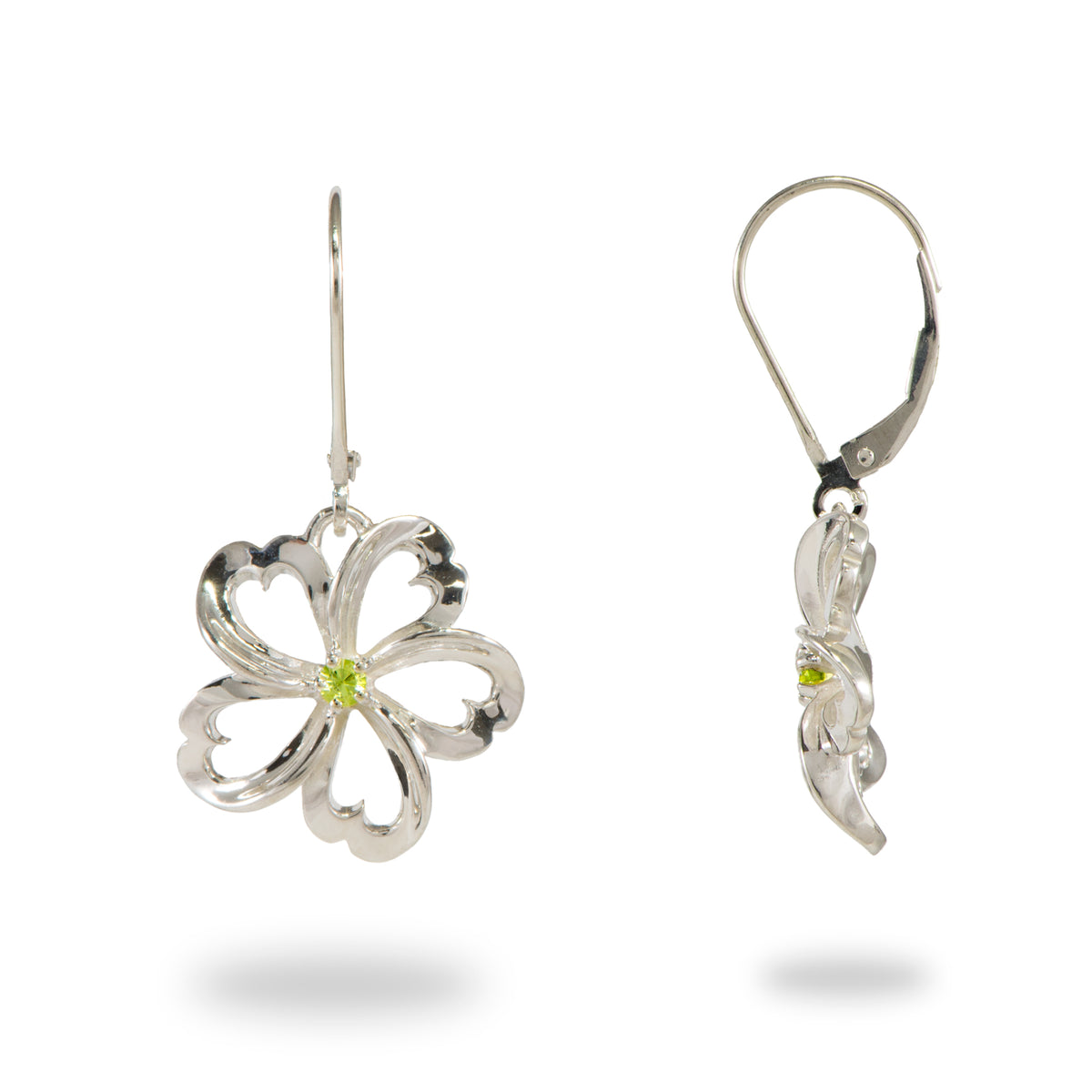 Plumeria Peridot Earrings in Sterling Silver - 18mm