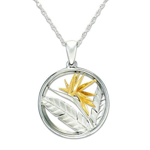 Bird of Paradise Necklace in Sterling Silver & 14K Yellow Gold - 22mm-Maui Divers Jewelry