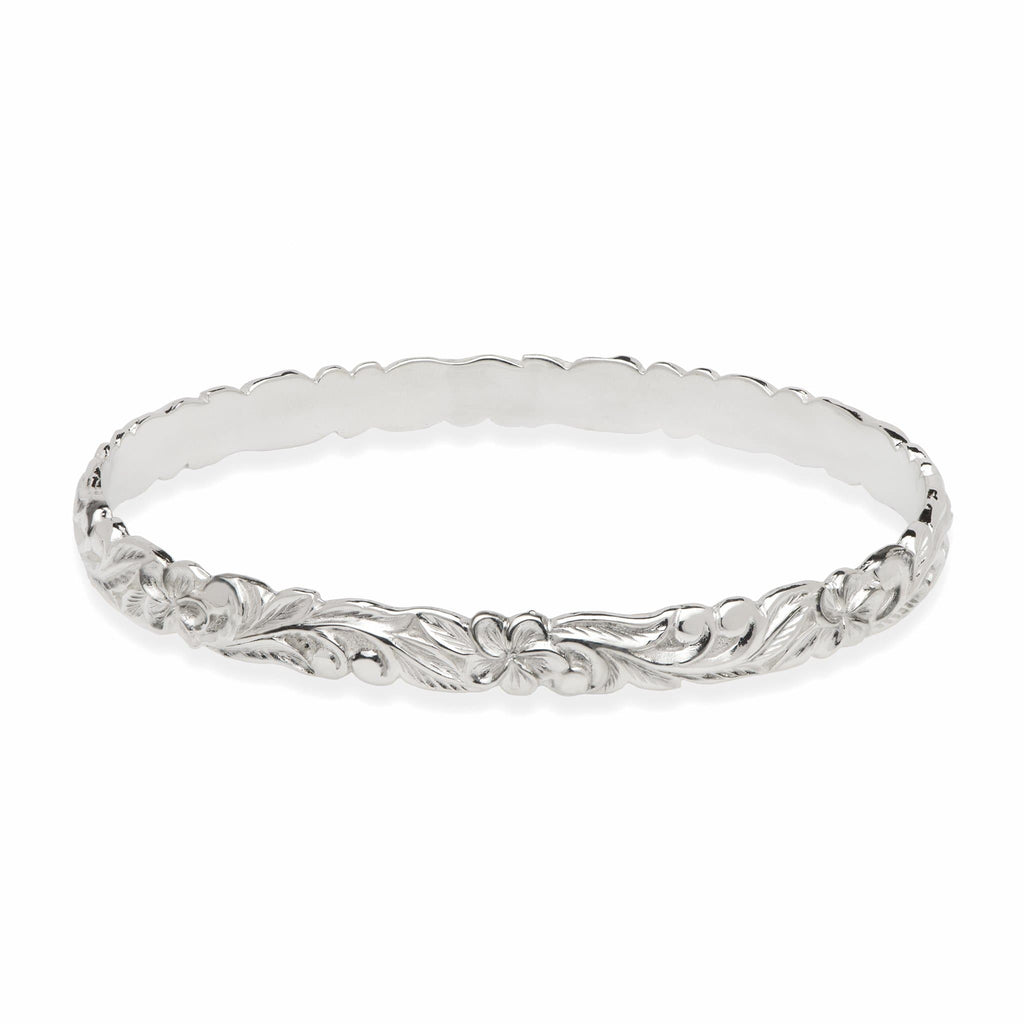 Hawaiian Heirloom Plumeria Scroll 6mm Bracelet in Sterling Silver - Size 7.5 - Maui Divers Jewelry