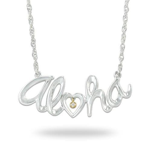 Aloha Necklace with Diamond in Sterling Silver & 14K Yellow Gold