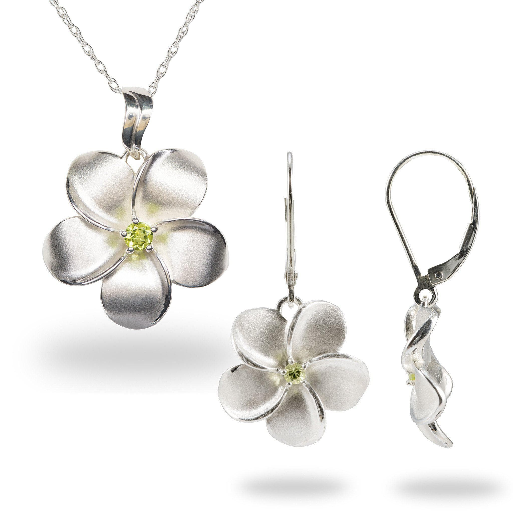 Plumeria Necklace & Earring Set With Peridot In Sterling Silver