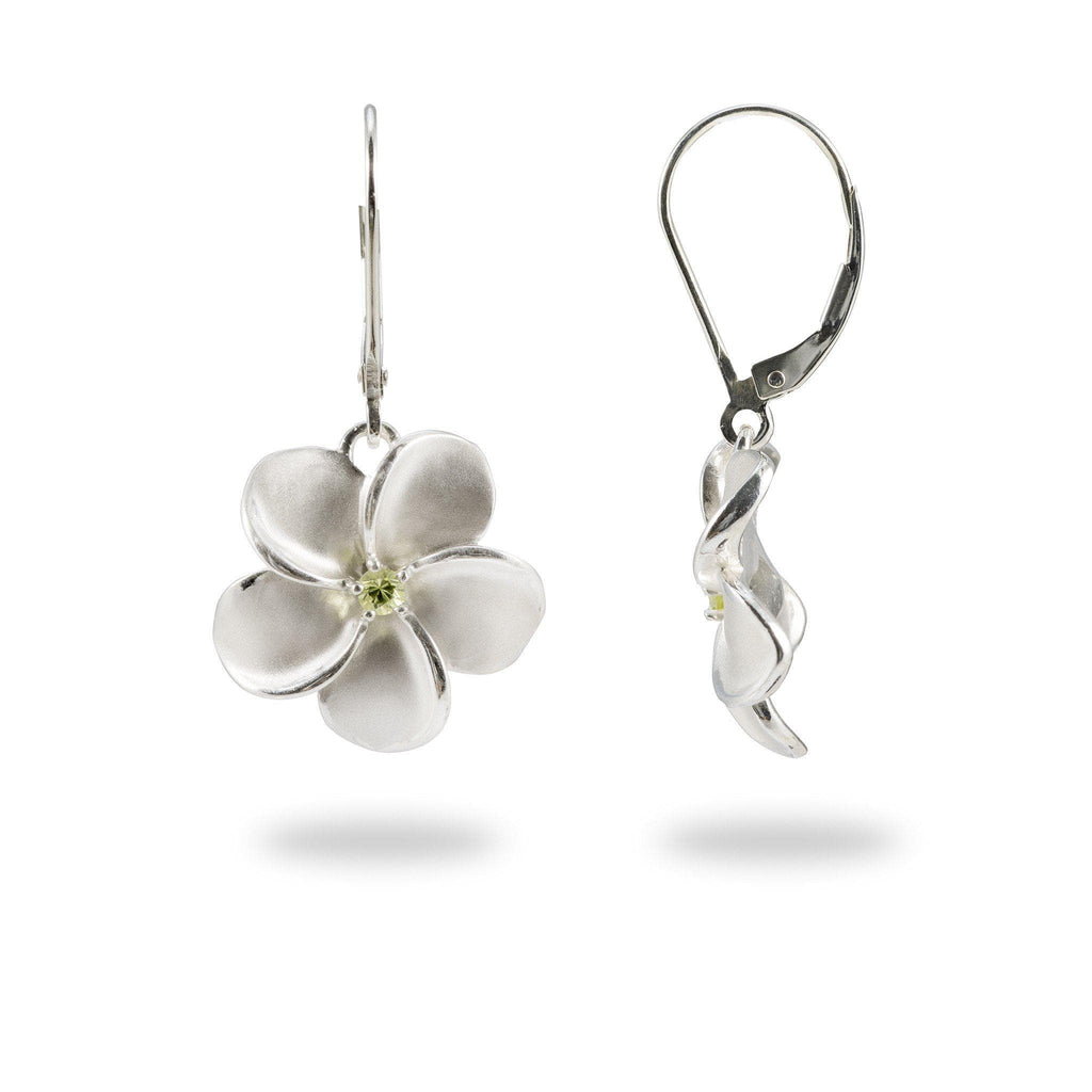 Plumeria Earrings with Peridot in Sterling Silver - 18mm-[SKU]