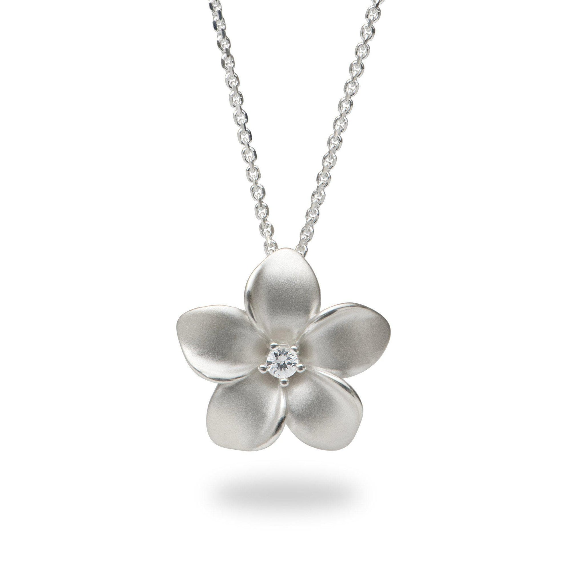 Plumeria Necklace in Sterling Silver with White Sapphire - Maui Divers Jewelry