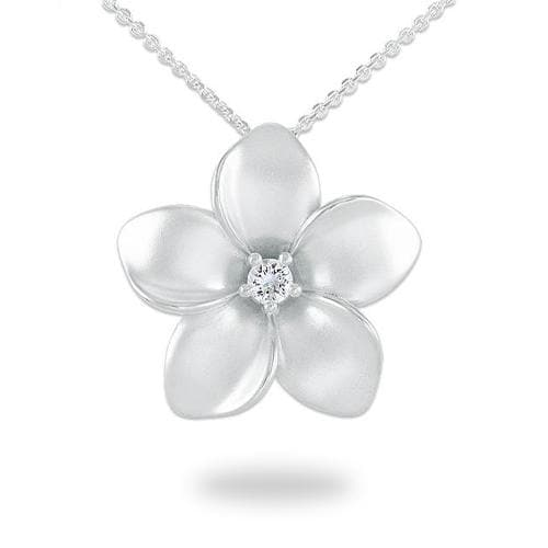 Plumeria Necklace with White Sapphire in Sterling Silver - 28mm