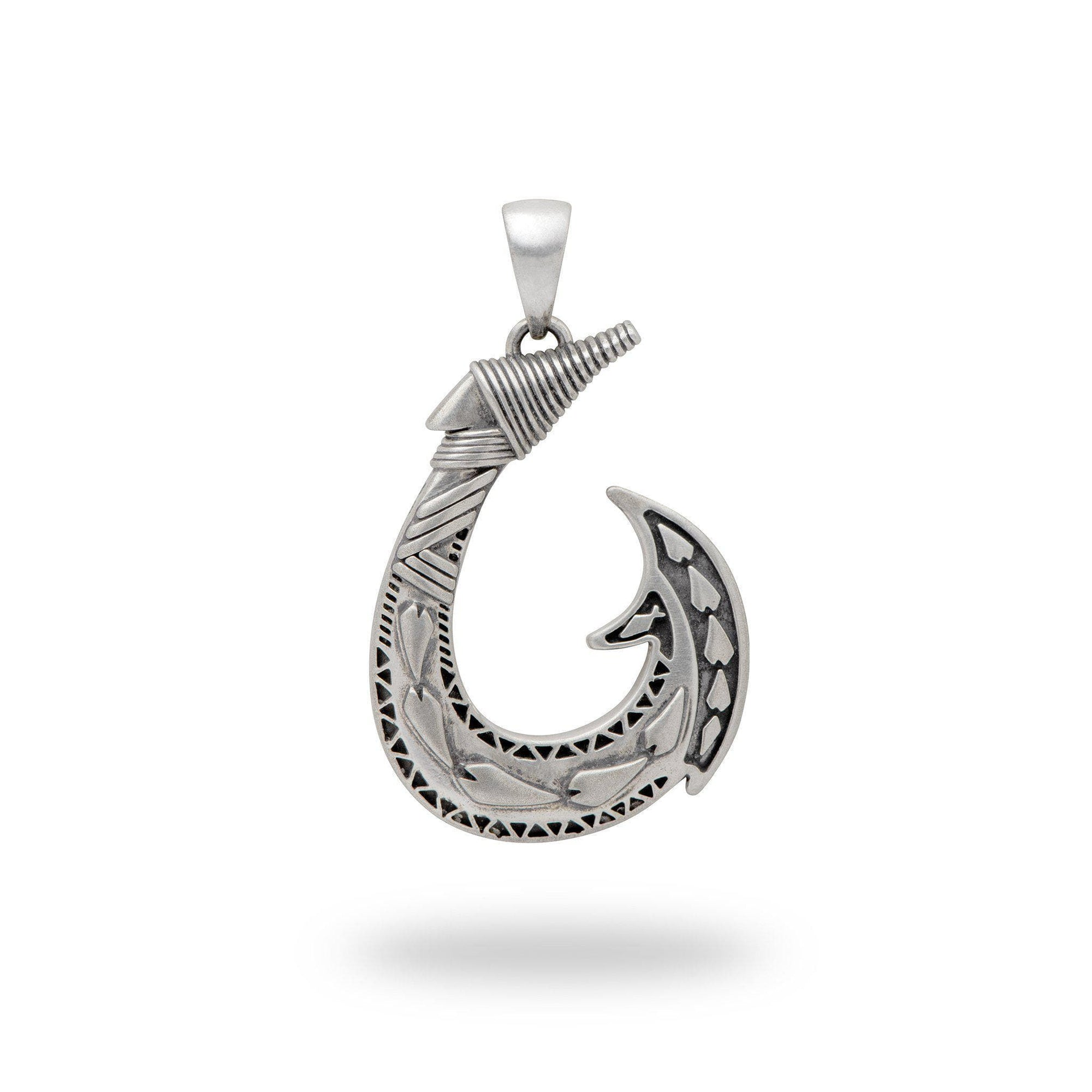 Fish Hook Pendant in Sterling Silver - Maui Divers Jewelry