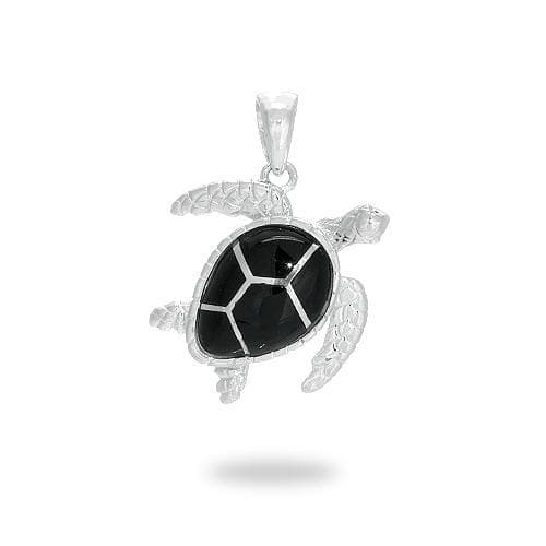 Black Coral Turtle Pendant in Sterling Silver - 19mm - Maui Divers Jewelry