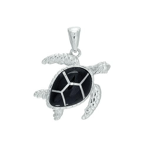 Black Coral Turtle Pendant in Sterling Silver (22mm)