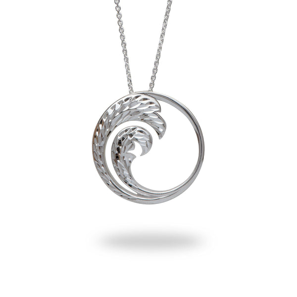"24"" Adjustable Nalu Pendant in Sterling Silver - 30mm-Maui Divers Jewelry"